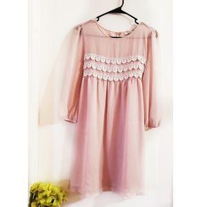 🔮 Forever 21 Pink Romantic Sheer Dress